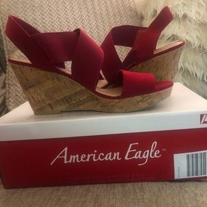 American Eagle Outfitters Red Wedges